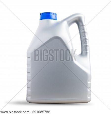 Gray Plastic Canister Machine Lubricating Oil Gallon Bottle 4 Liters With A Blue Cap For Machine Eng