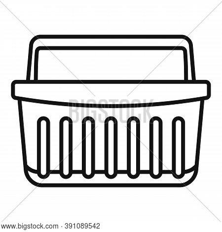 Hypermarket Shop Basket Icon. Outline Hypermarket Shop Basket Vector Icon For Web Design Isolated On