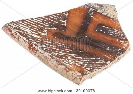 Arizona Anasazi pottery shard, ancient Native American Indian artifact, a large bowl fragment, isolated on white poster