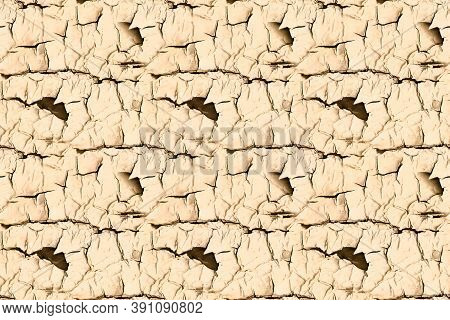 Material Texture. Brown Worn Cracked Surface. Grunge Dirty Stencil. Rustic Tree Background. Beige Na