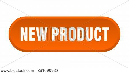 New Product Button. New Product Rounded Orange Sign. New Product