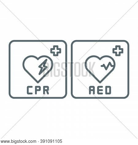 Aed Emergency Defibrillator, Aed Aid Cpr, Vector Icon Symbol Isolated On White Background