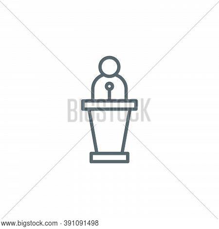 Tribune Orator Speech Vector Icon Symbol Isolated On White Background