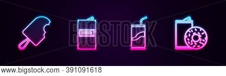 Set Line Ice Cream, Beer Can, Soda With Drinking Straw And Aluminum Soda And Donut. Glowing Neon Ico
