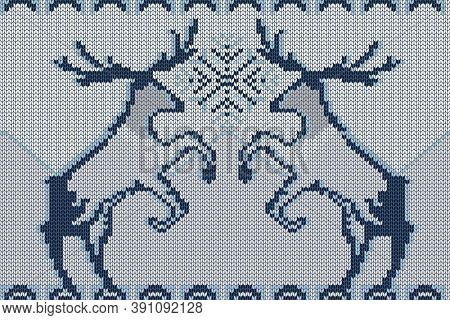 Christmas And Winter Holiday Knitting Pattern With Two Deer And A Snowflake.