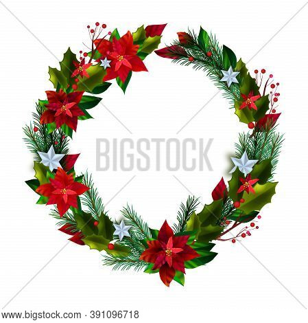 Christmas Vector Holiday Wreath With Poinsettia Red Leaves, Pine Branches, Stars, Berries. Winter X-