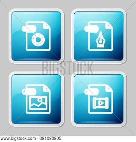 Set Line Raw File Document, Eps, Jpg And Mp4 Icon. Vector