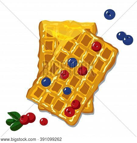 Belgian Waffle Vector Stock Illustration. A Traditional Dessert Of Brussels. Close Up. Homemade Cake
