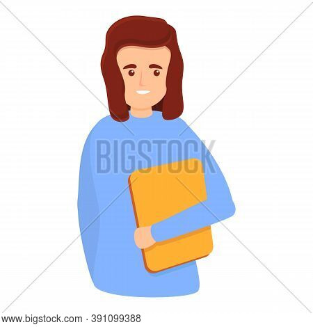 Girl With Folder Icon. Cartoon Of Girl With Folder Vector Icon For Web Design Isolated On White Back