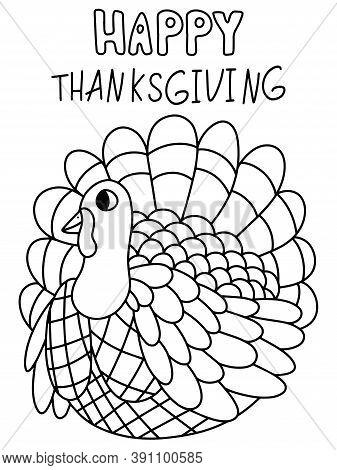 Happy Thanksgiving Day Black Outline Turkey Bird Stock Vector Illustration. Turkey Bird With Greetin