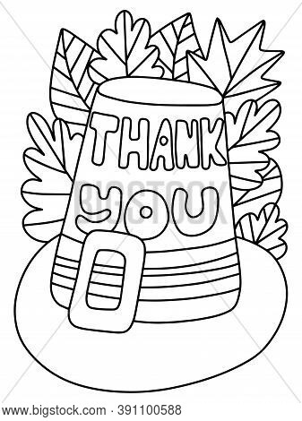 Pilgrim Hat And Autumn Leaves Coloring Page Stock Vector Illustration. Happy Thanksgiving Day Simple