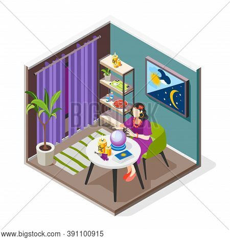 Magical Services Isometric Background Composition With Indoor View Of Fortunetelling Room With Chara