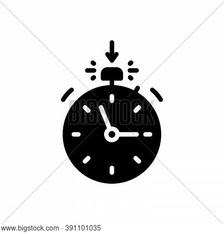 Black Solid Icon For Start  Watch Countdown Quick Analogue Alarm