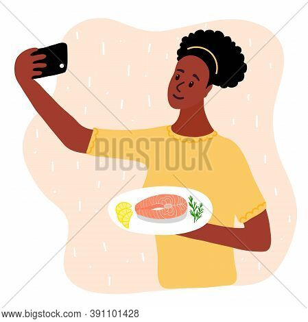 Black African Woman Food Blogger Making Photo Selfie With Salmon Steak And Lemon And Rosemary For Bl