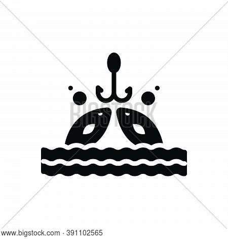 Black Solid Icon For Fishing  Fishery Angling  Trawling Catch Aquatic Animal Fisherman Fishhook