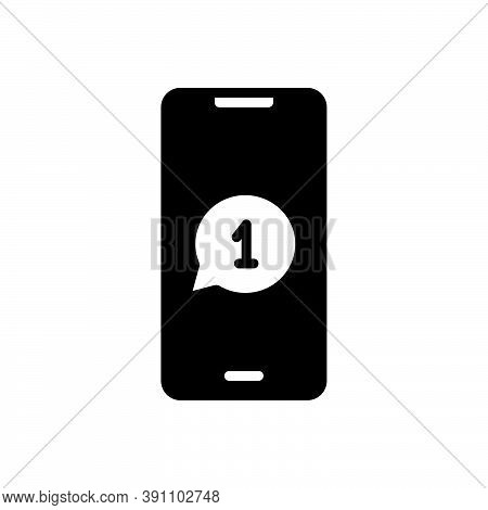 Black Solid Icon For Message News Report Tidings Intimation Information Notification Phone
