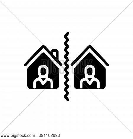 Black Solid Icon For Separate Break-up Divide Distinct Aloof Segregate Split Neighborhood