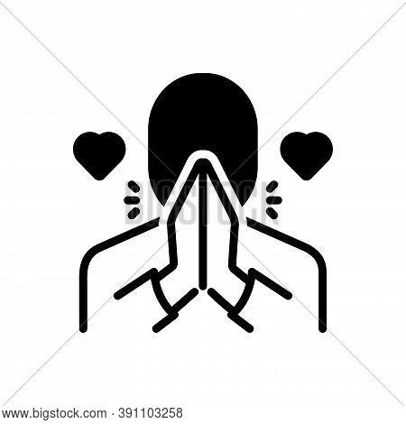 Black Solid Icon For Honor Respect Esteem Veneration Regard Pray Thanks