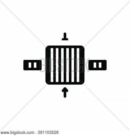 Black Solid Icon For Thick Fat Plump Voluminous Coarse Dimension Gauge