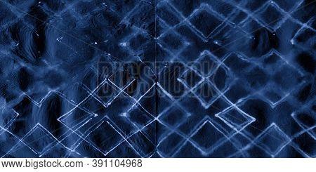 Indigo Geometrical Rhombus. Contemporary Geo. Sea Zig Zag Wallpaper. Night Ink Painted Stripes. Indi