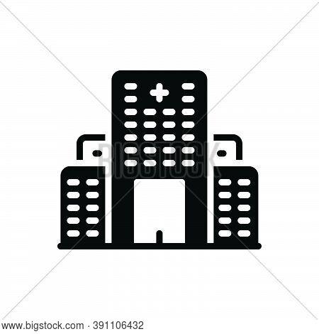 Black Solid Icon For Hospital Asylum Clinic Lazaretto Emergency Nursing-home Medical Building