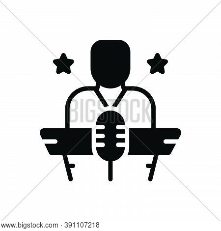 Black Solid Icon For Host Speech Entertainer Introduce Present Throw-a-party Organization Event