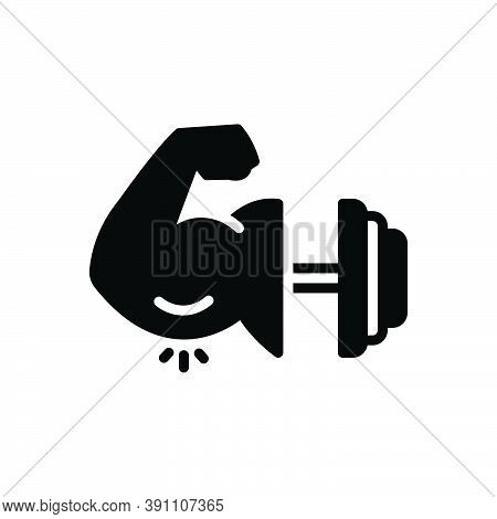 Black Solid Icon For Might Strength Vigor Efficacy Potency Muscle Bicep Training Physical