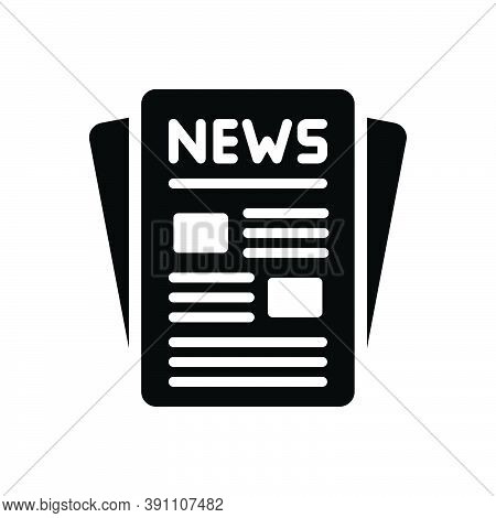 Black Solid Icon For Publication News Release Issue Puffery Publicity Display Newspaper Article Maga