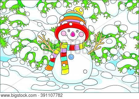 Smiling Toy Snowman With A Warm Colorful Scarf And A Hat Under Snow-covered Fir Branches In A Snowy