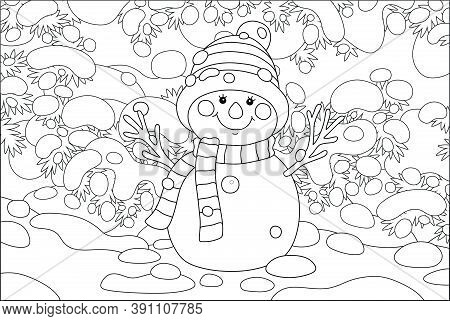 Smiling Toy Snowman With A Warm Scarf And A Hat Under Snow-covered Fir Branches In A Snowy Winter Pa