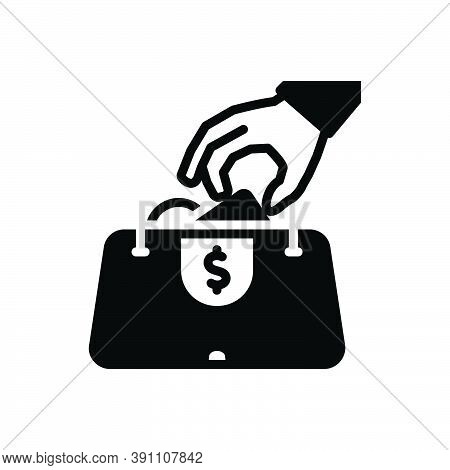 Black Solid Icon For Steal Pilfer Thieves Purloin Theft Pocket-money Anonymous Purse Filch