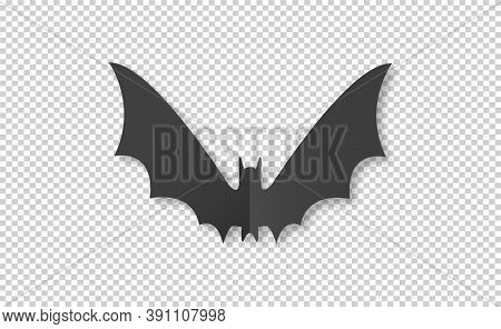 Bat In Paper Cut  Style On On  Png Or Transparent Background, Happy Halloween Concept, Graphic Resou