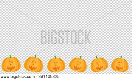 Cute Smiling Pumpkins In Paper Cut  Style On On  Png Or Transparent Background, Happy Halloween Conc