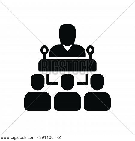 Black Solid Icon For Publicly Speaker Delegate Consultant Conference Interview Lecture Client