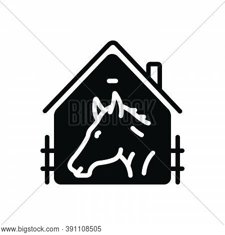 Black Solid Icon For Horse-in-stable Racing Farmyard Stable Horse Sport Ride Window Equestrian Cattl