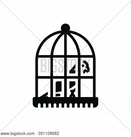 Black Solid Icon For Parrot-in-a-cage Parrot Cage Birds Birdcage Domestic Feather Prisoner