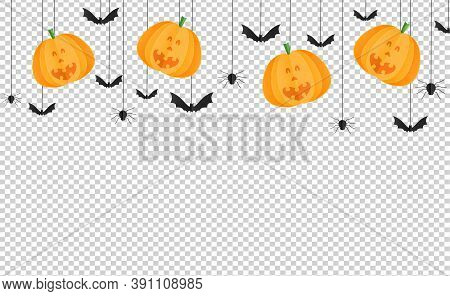 Halloween Party  Background With Happy Smiling  Pumpkin Face , Bats, Spiders In Paper Cut Style, Han
