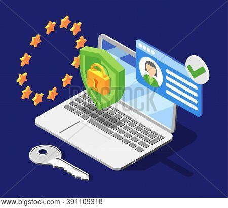 Personal Data Protection Gdpr Isometric Background With European Union Symbolics Shield And Lock Pic