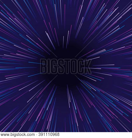 Burst Blue Purple Pink With Deep Hole In Center Futuristic Abstract Energy Design. Creative Wallpape