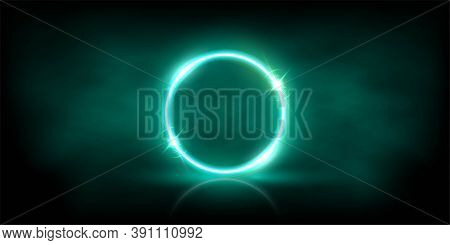 Glowing Neon Azure Circle With Sparkles In Fog Abstract Background. Round Electric Light Frame. Geom