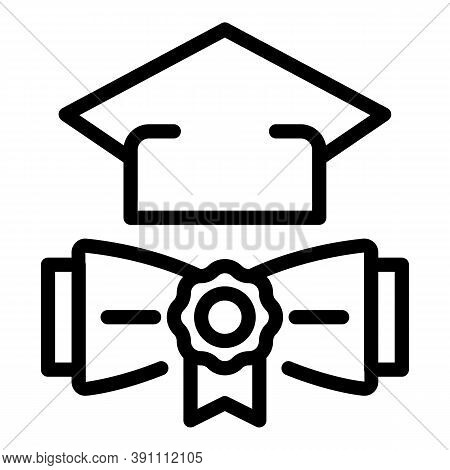 Graduation Diploma And Hat Icon. Outline Graduation Diploma And Hat Vector Icon For Web Design Isola