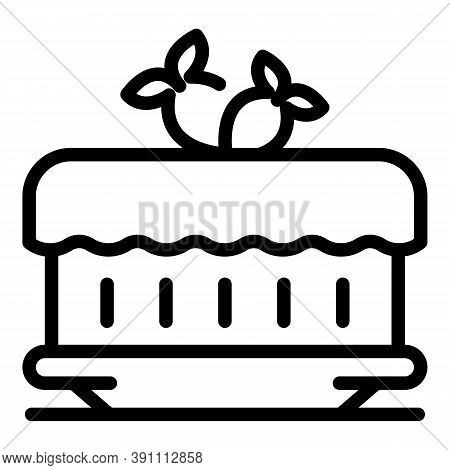 Strawberry Cream Cake Icon. Outline Strawberry Cream Cake Vector Icon For Web Design Isolated On Whi