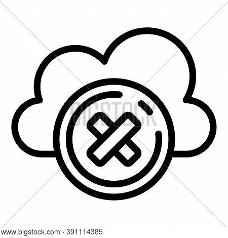 Rejected Data Cloud Icon. Outline Rejected Data Cloud Vector Icon For Web Design Isolated On White B