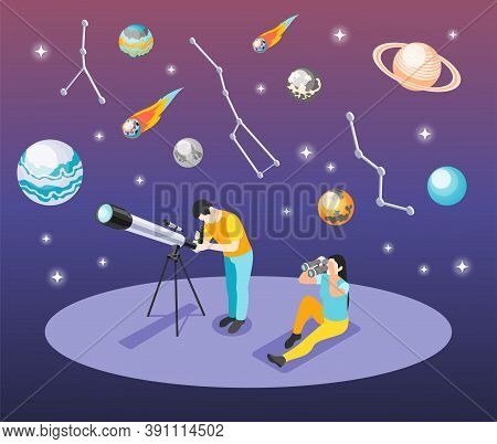 Astronomy Isometric Background Composition With Human Characters Looking Through Telescope And Binoc