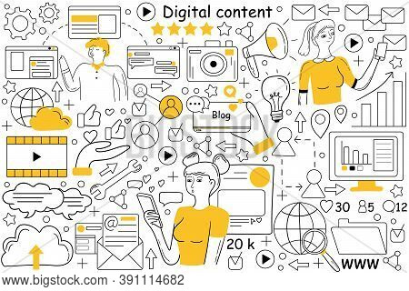 Digital Content Doodle Set. Collection Of Hand Drawn Sketches Patterns Of People Creating Promote In