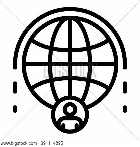 Communication People Global Network Icon. Outline Communication People Global Network Vector Icon Fo