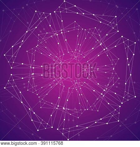 Geometric Pattern With Connected Lines And Dots.
