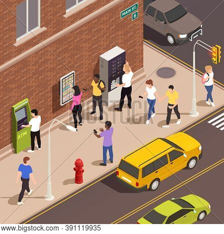 Men And Women Using Information Board Atm Coffee Kiosk With Interactive Interface On Sidewalk 3d Iso