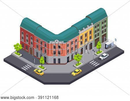 Suburban City Buildings Isometric Composition With View Of Town Street With Cars And Apartment House