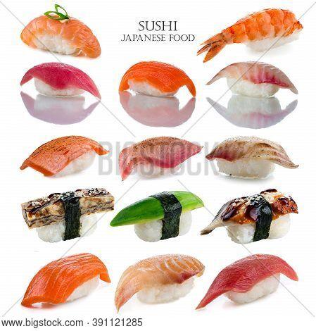 Sushi Set - Japan Cousine. Sushi Nigiri Collection Isolated On White Background. Delicious Seafood,